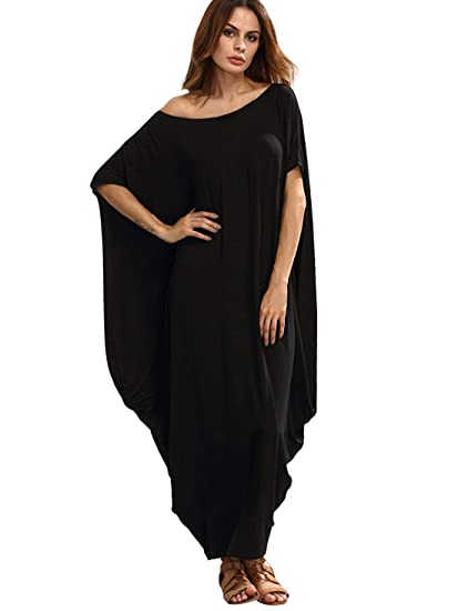 00275836c1c Verdusa Women's One Off Shoulder Caftan Sleeve Harem Maxi Dress