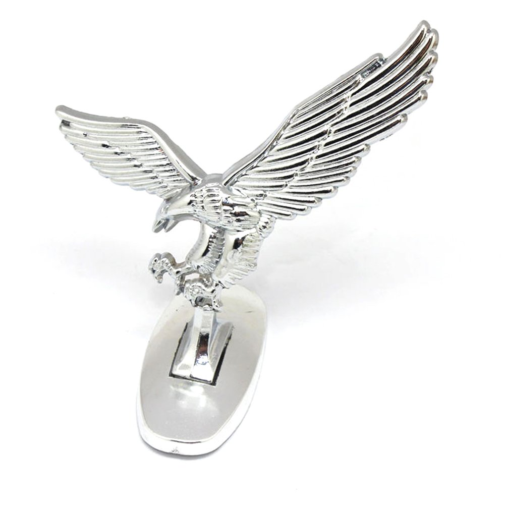 3D Car Front Cover Chrome Eagle Badge Car Cover for Auto Car Front Hood Ornament Emblems Silver-White Alician