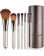 NORIDA Makeup Brush Set - 7 Pcs Make Up Brushes for Blush Eye brow Cosmetics Eyeliners Eye shadow Foundation Make Up Travel Set with Holder