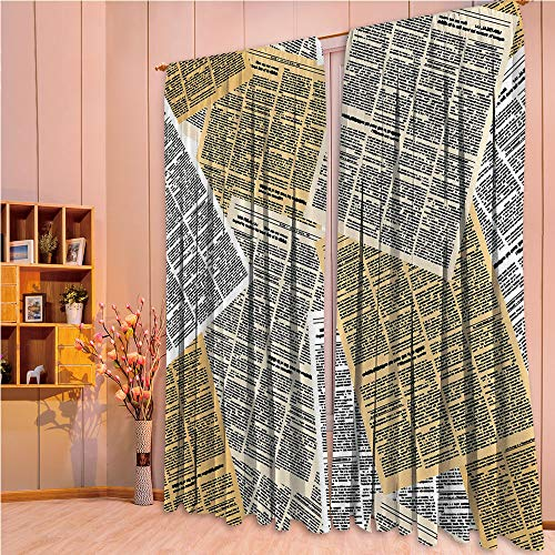 ZHICASSIESOPHIER Darkening Thermal Insulated Short Curtain Adjustable Tie Up Shade Panel for Small Window,Rod Pocket,Old Journals Magazines Columns Information Print 84Wx95L ()