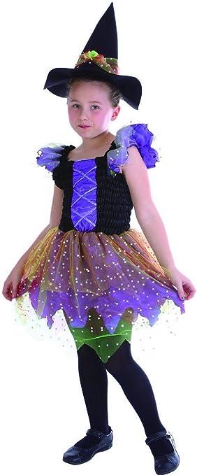 Generique - Disfraz Bruja Multicolor niña M 7-9 años (120-130 cm ...