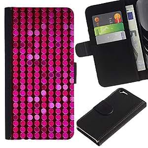A-type (Pattern Pink Purple Dots Bright) Colorida Impresión Funda Cuero Monedero Caja Bolsa Cubierta Caja Piel Card Slots Para Apple (4.7 inches!!!) iPhone 6 / 6S