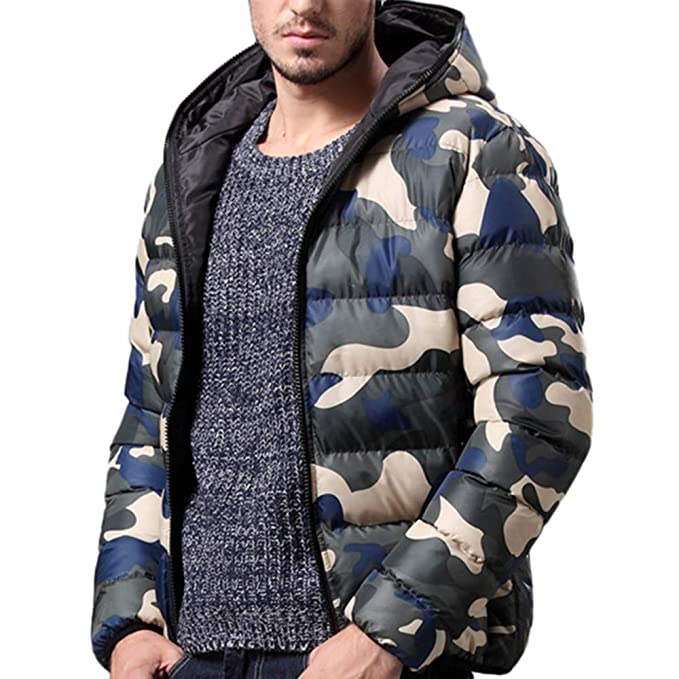 Amazon.com: Sale! Teresamoon Mens Winter Jacket Overcoat Outwear Camouflage Slim Trench Zipper Caps Coat: Home & Kitchen