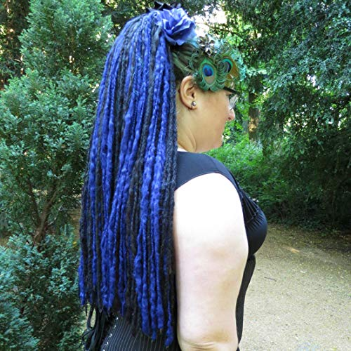 black 112 Goth dreadlocks Gothic Lolita dreads extensions Lightweight locs Tribal Fusion Belly Dance hair falls Witch costume accessory Fantasy Larp wool dreads Moonchild hair ()