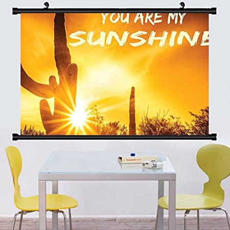 Gzhihine Wall Scroll Quote Wall Decor Desert Sunset Cactus Plant ...