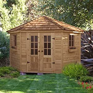 Wood outdoor storage shed poolhouse large for Very small garden sheds
