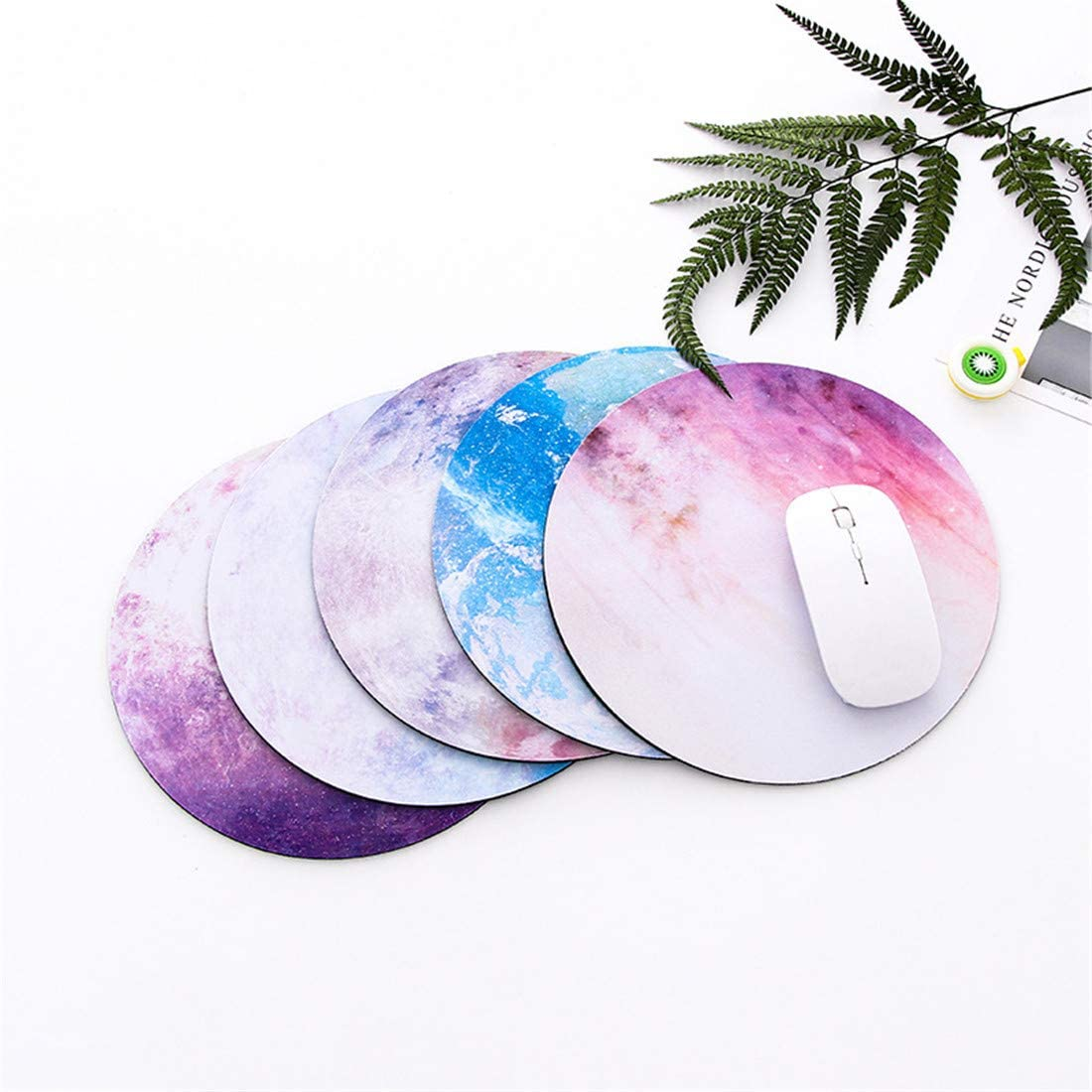2 Pack Office Round Gaming Mouse Pad with Design Waterproof Non-Slip Rubber Base Mousepad