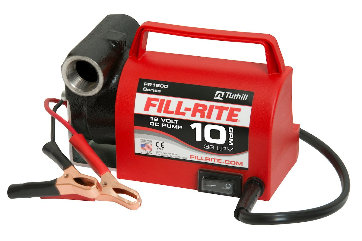 Fill-Rite FR1612 Portable Diesel Fuel Transfer Pump-12 V DC, 10 GPM, 1/5 HP, 3/4' NPT Inlet, No Nozzle 3/4 NPT Inlet Tuthill