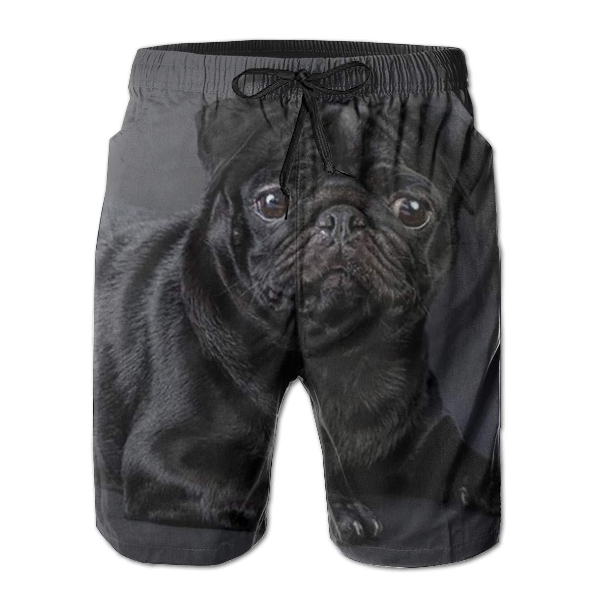 Mens Swim Trunks Black Pug Beach Board Shorts Quick Dry Sports Running Swim Board Shorts with Pockets Mesh Lining