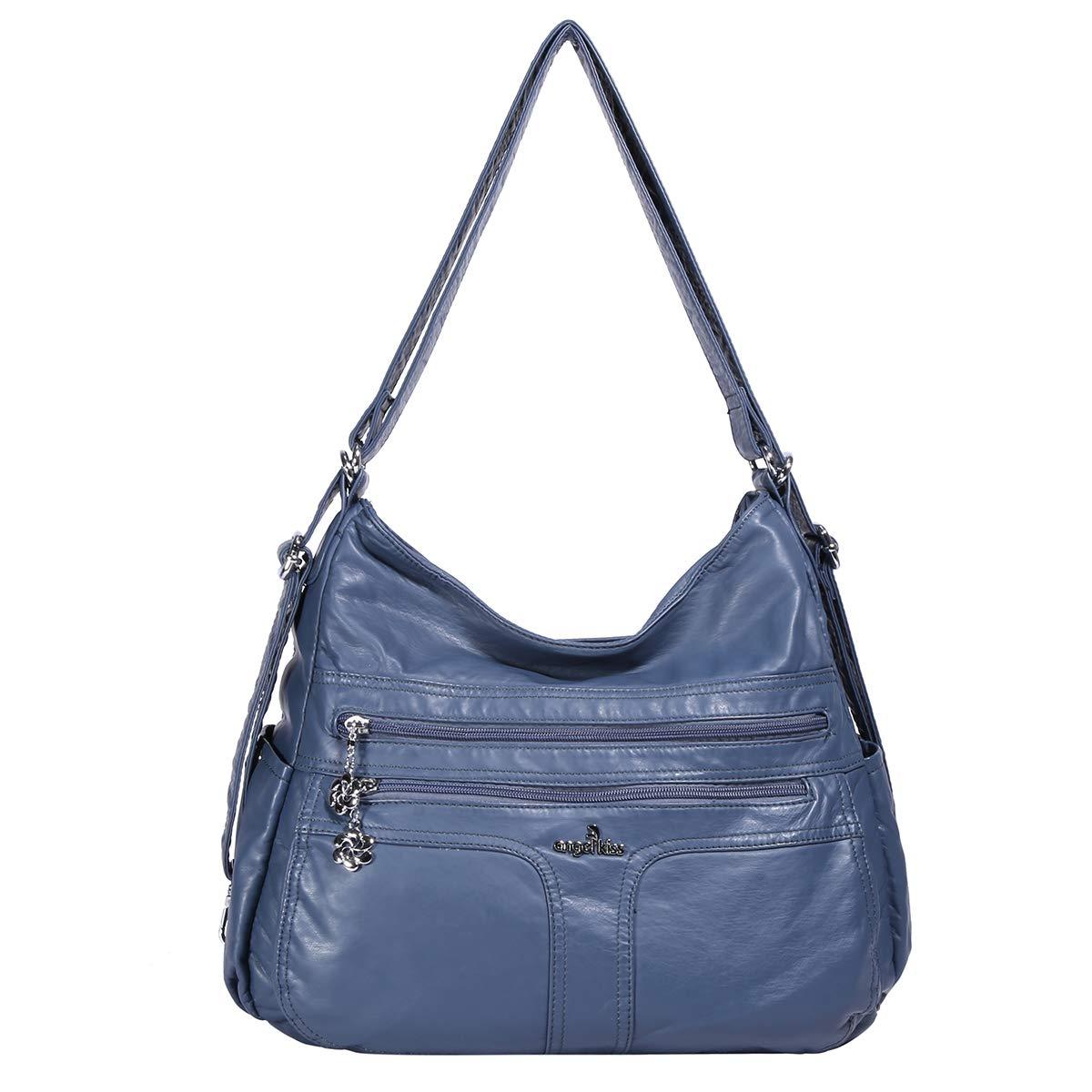 Angelkiss Women's Multifunctional Shoulder Hobo Bag Soft Leather Messenger Crossbody Purse Satchels Handbags with Zipper Blue