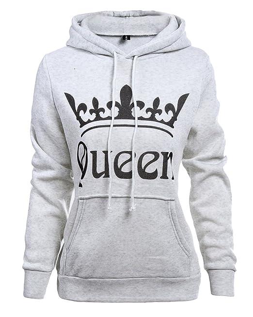 Tomwell Hombre Y Mujer Moda King Queen Impresión Sudaderas con Capucha Manga Larga Pullover Camisas Jersey Hoodies Parejas Tops D Queen Gris Claro EU L: ...