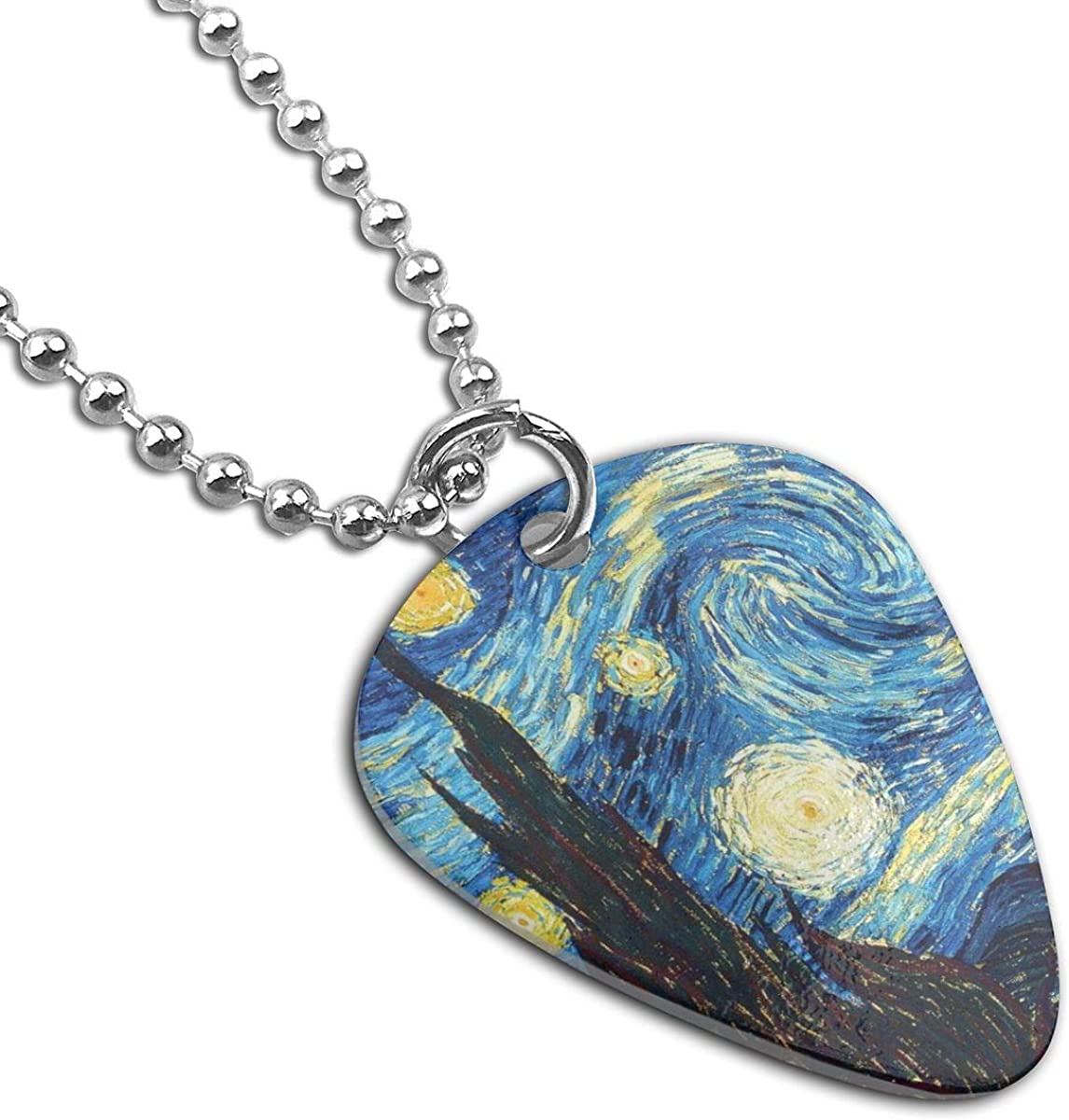 Tumblr Static Starry Night Pendant Necklace Guitar Pick Custom Keychain Pet Card