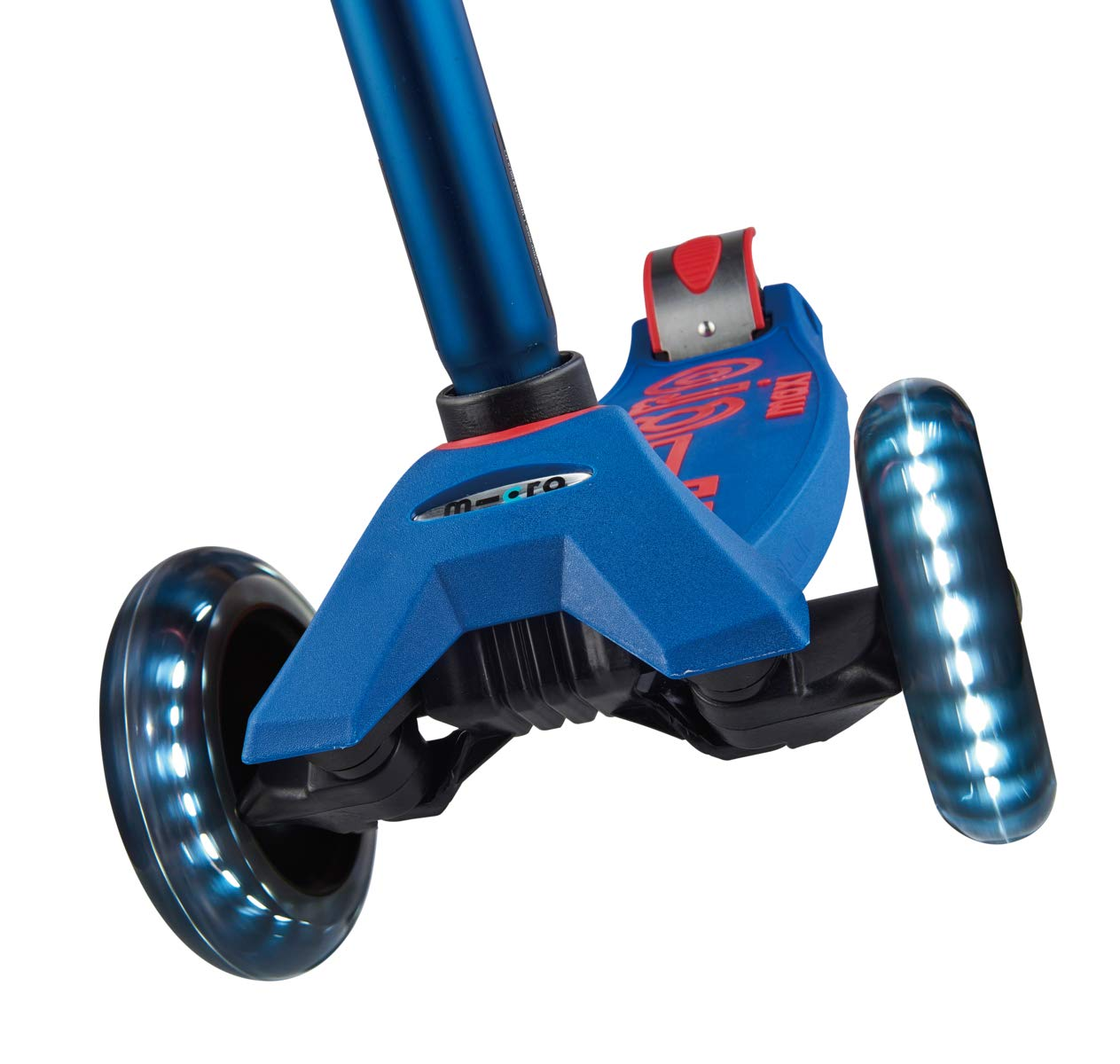 Micro Maxi Deluxe - LED 3-Wheeled, Lean-to-Steer, Swiss-Designed Micro Scooter for Kids with LED Light-up Wheels, Ages 5-12 - Blue by Micro Kickboard