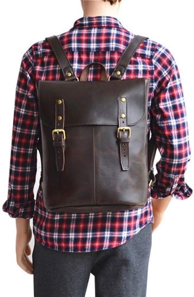 Color : Dark Brown, Size : S Lydianzishangwu Leather Pack Handmade Rucksack Womens Rucks School Backpack Fashion Shopping