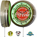 Coca Cola 15'' Neon Wall Clock Lighted Distressed Sign Soda Pop Shop Coke Bottle Logo Vintage Retro Style Green