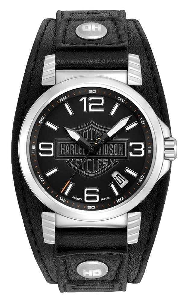 Amazon.com: Harley-Davidson Bulova Acero Inoxidable piel ...