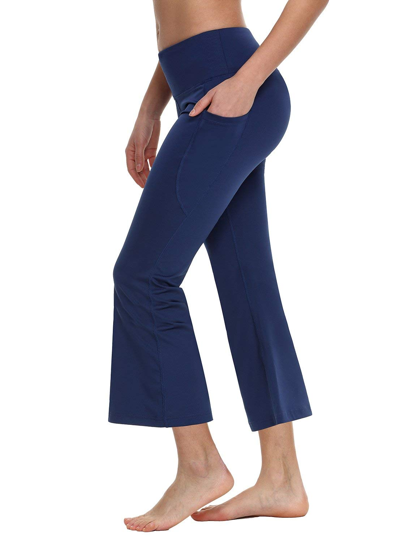 BALEAF Women's 23'' Yoga Capri Pants Flare Workout Bootleg Crop Leggings Navy XXXL by BALEAF