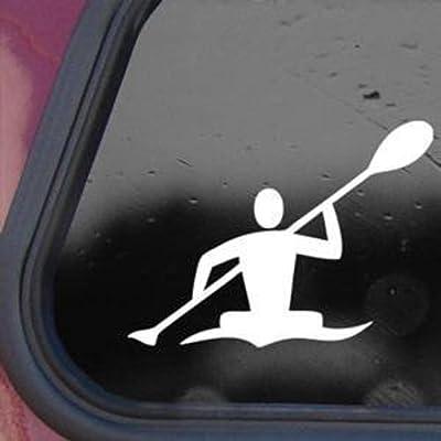 Kayak Whitewater Man Decal Vinyl Decal Sticker|Cars Trucks Walls Laptop|7 in|White|KCD378: Automotive [5Bkhe0111289]