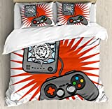 Boy's Room Queen Size Duvet Cover Set by Lunarable, Video Games Themed Design in Retro Style Gamepad Console Entertainment, Decorative 3 Piece Bedding Set with 2 Pillow Shams, Grey Orange White