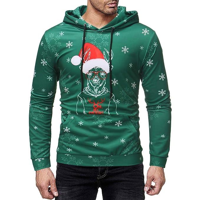 ♚ Sudaderas con Capucha para Hombre Navidad Sombrero Impreso, Mens Navidad Impreso suéter Manga Larga Sudadera con Capucha Tops Blusa Absolute: Amazon.es: ...