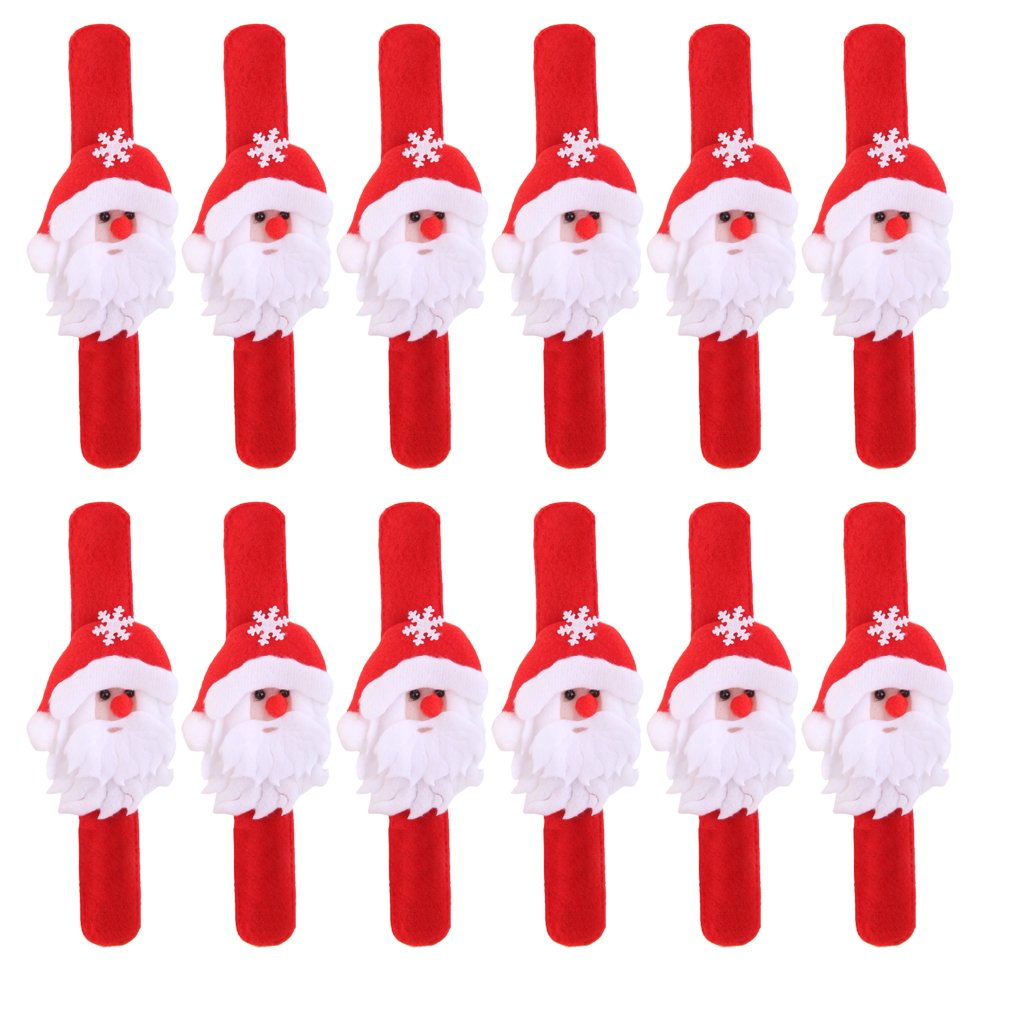 12pcs Christmas Wristband Slap Bands Xmas Party Favors (Santa) L-FENG-UK