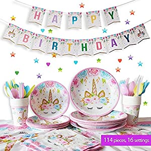 Unicorn Birthday Party Supplies Set | Unicorn Decorations and Tableware | Disposable and No Washing up | Serves 16 – 114 Pieces by Party People