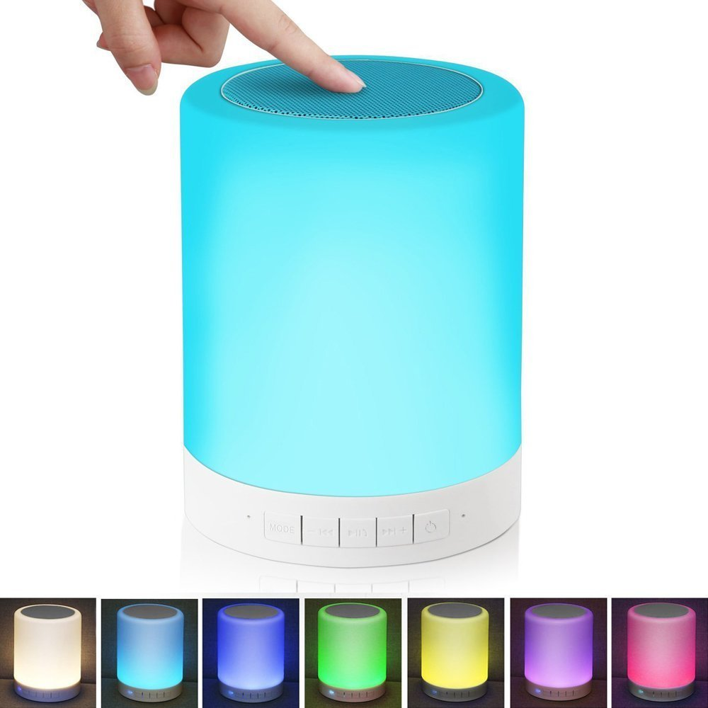 Alenbrathy Bedside Lamp with Wireless Bluetooth Speakers Touch Dimmable Table Lamp Night light with TF Card , AUX Supported, Hands-free Speakerphone, Metal Handle for Children bedroom, Party, Camping