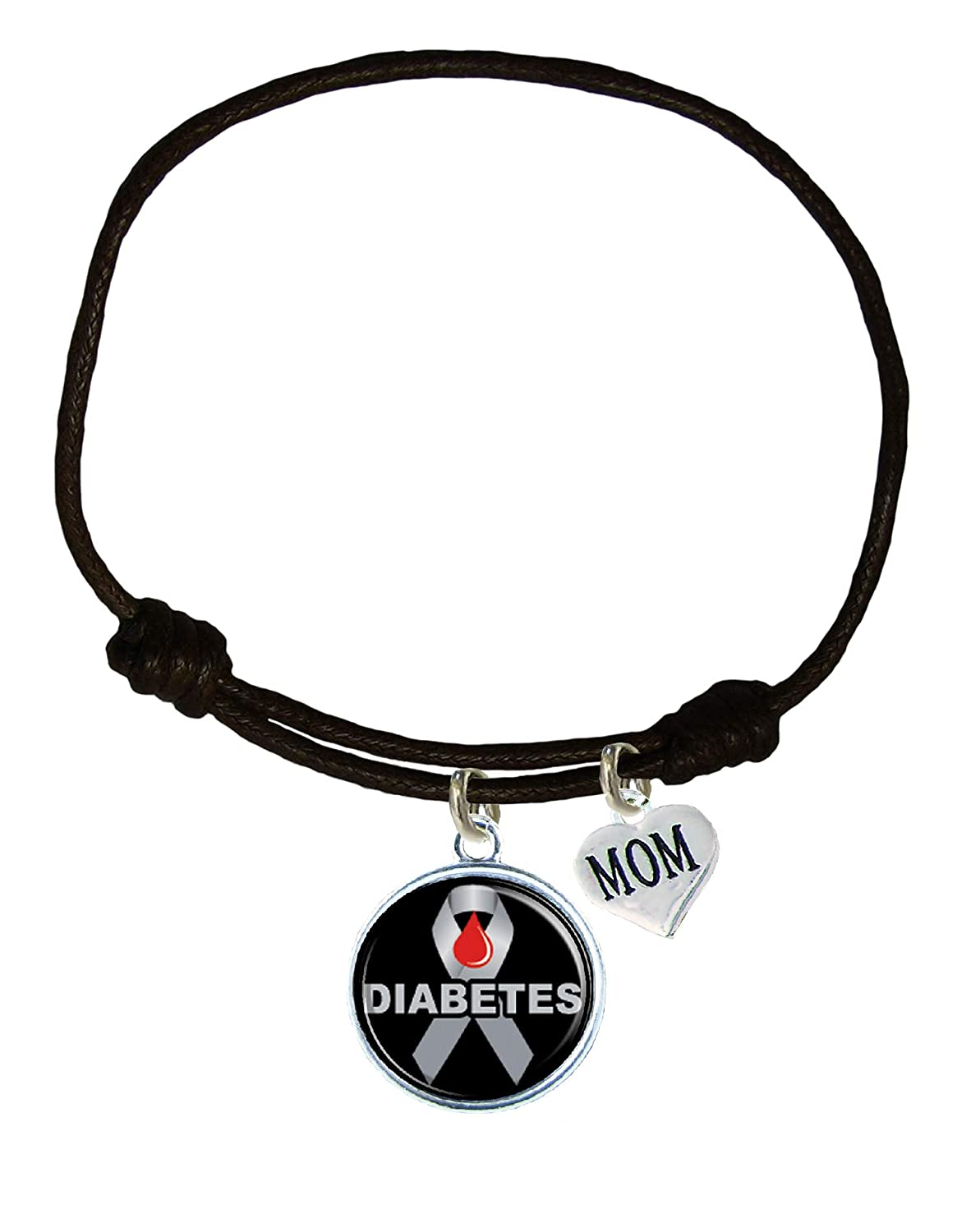 Holly Road Custom Diabetes Awareness Black Leather Unisex Bracelet Jewelry Choose MOM or DAD ONLY