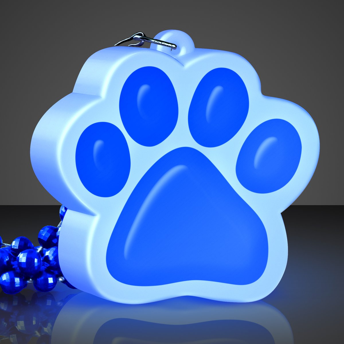 FlashingBlinkyLights Light Up Blue Paw Print Charm Necklace (Set of 12)