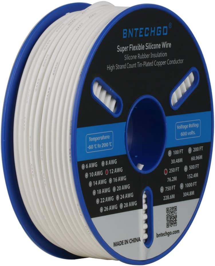 BNTECHGO 12 Gauge Silicone Wire Spool 50 ft Black Flexible 12 AWG Stranded Tinned Copper Wire
