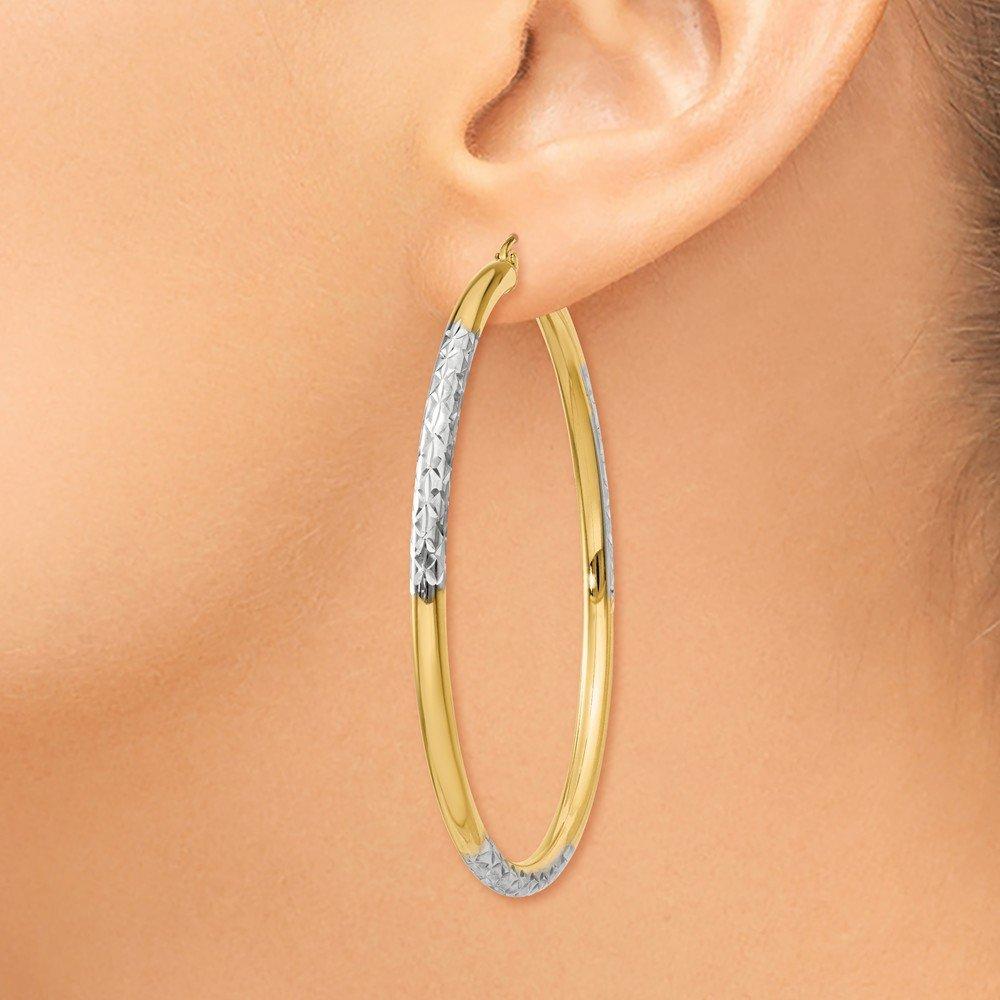 Mia Diamonds 14k Yellow Gold and Rhodium Diamond-cut 3x55mm Hoop Earrings
