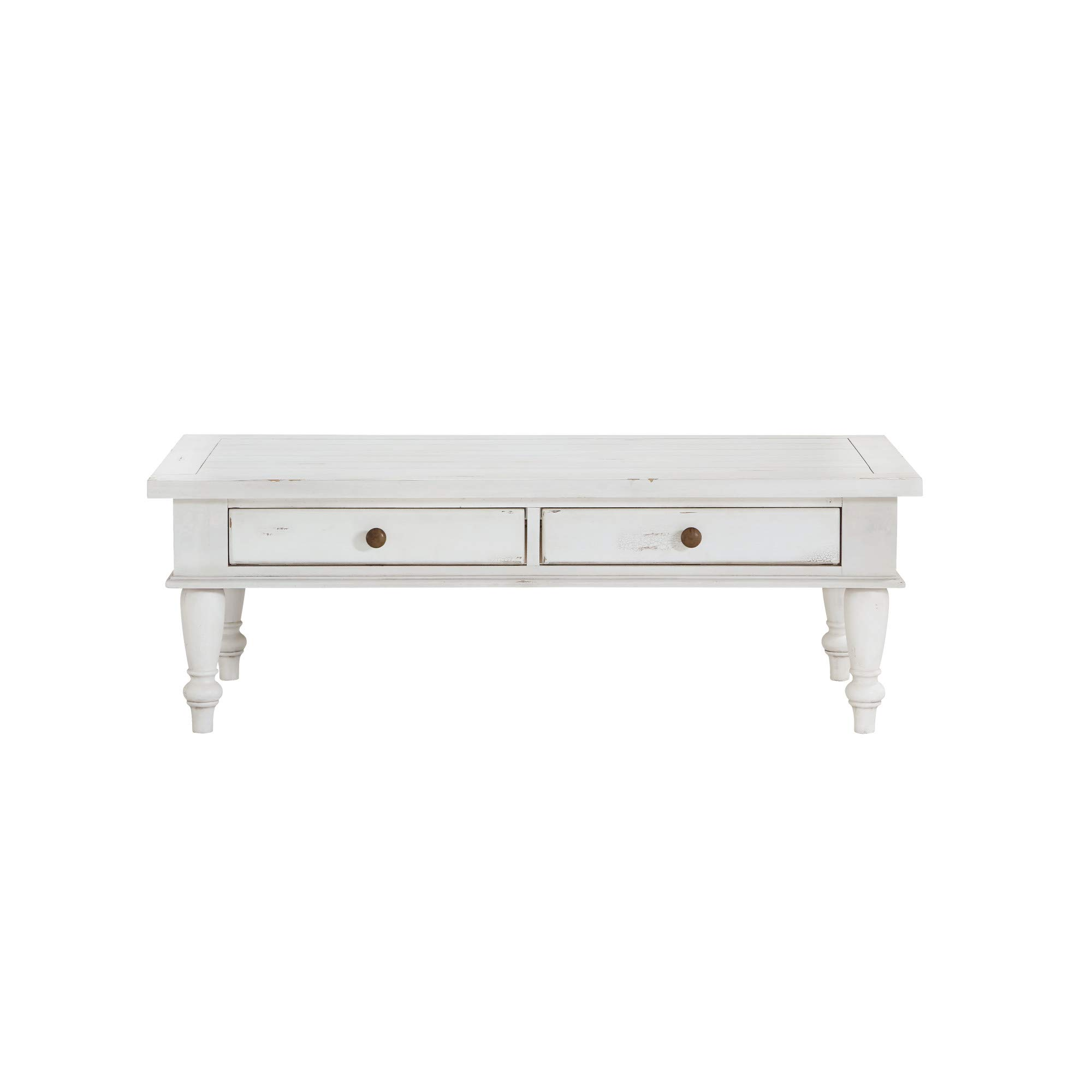 Novo 52'' Coffee Table in Alabaster with Easy Access Storage And Turned Legs, by Artum Hill