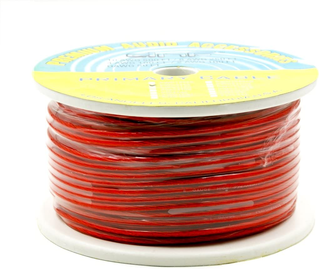 DNF 8 Gauge 250 Feet Red Power Cable 100/% OFC Premium Oxygen Free Copper