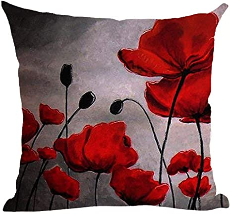 Amazon Com Ramirar Hand Painted Oil Painting Beautiful Red Poppy Flower Pink Black Grey Background Decorative Throw Pillow Cover Case Cushion Home Living Room Bed Sofa Car Cotton Linen Square 18 X 18