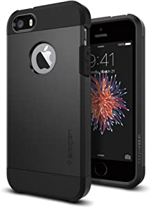 Spigen Tough Armor Desigend for Apple iPhone SE Case (2016) / Designed for iPhone 5S Case (2013) / Designed for iPhone 5 Case (2012) - SF Smooth Black