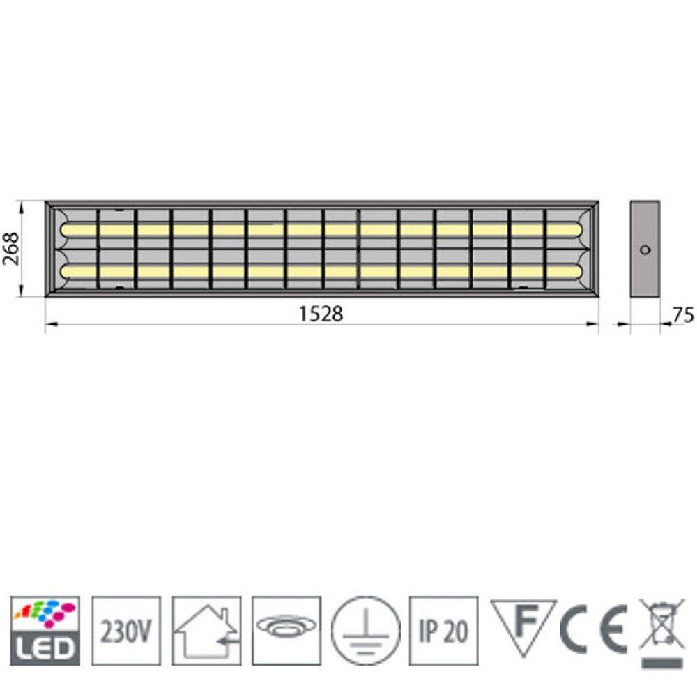 PureLed LED Rasterleuchten mit 2X T8 LED 150cm 23W neutralwei/ß 4500K G13 B/ürolampe