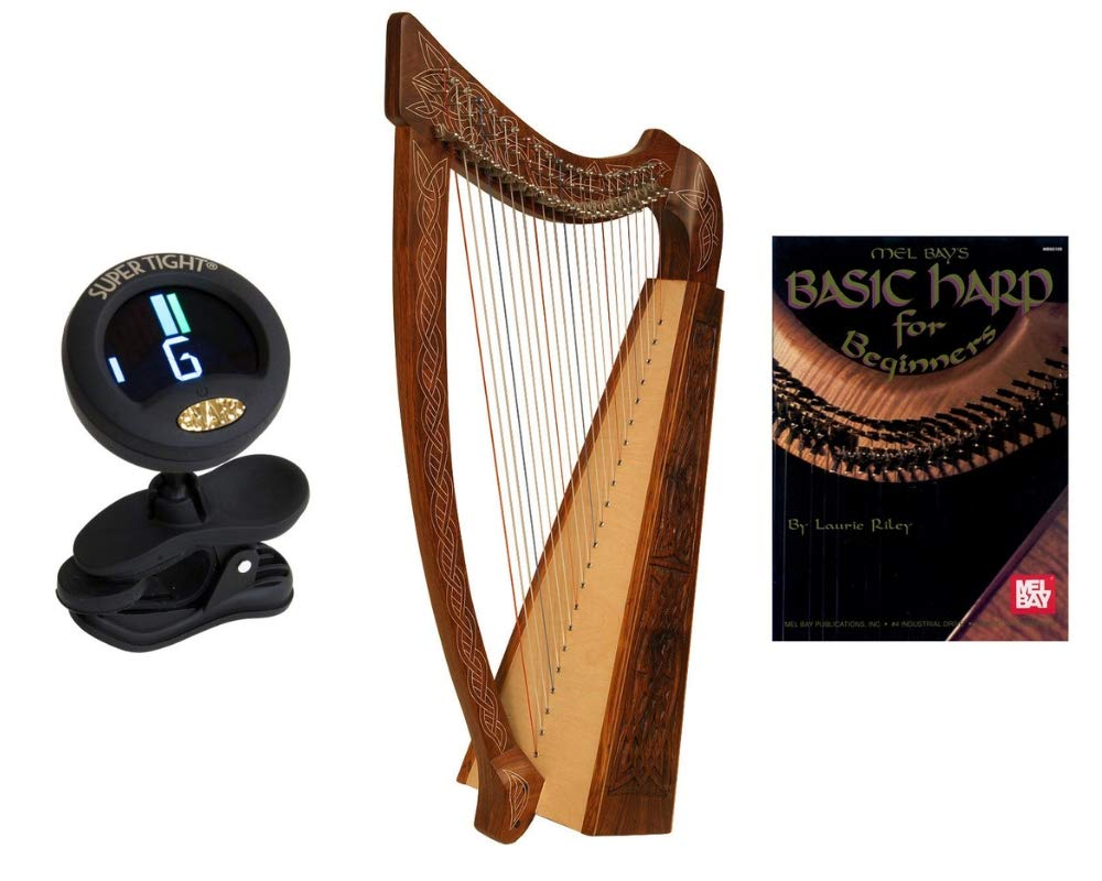 Heather Harp Package Includes: Roosebeck Celtic Heather Harp (Knotwork) + Snark Clip-On Chromatic Tuner for Harp + Mel Bays Basic Harp Book For Beginners By Laurie Riley