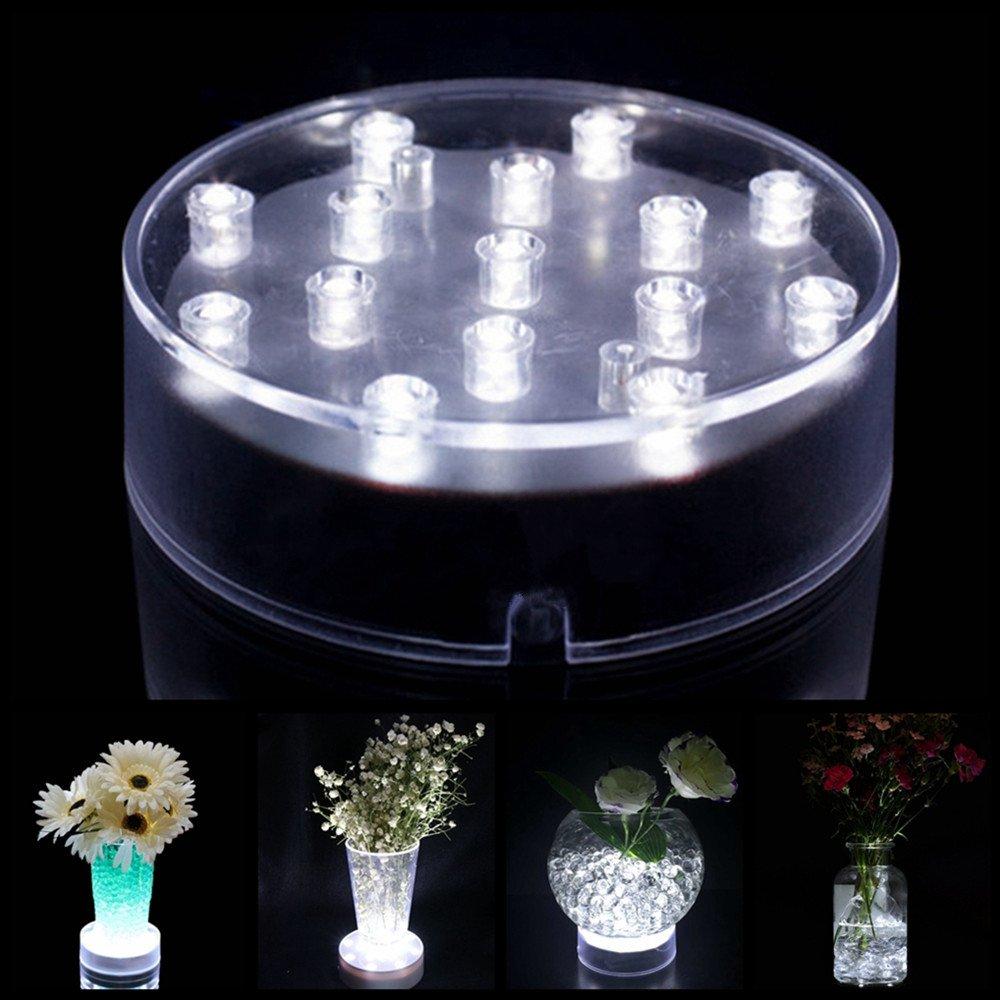 Atcket (Wei?ES Licht Vase Rond en Acrylique LED Base Light avec 15 Ampoules LED Ultra claires pour décoration de Table
