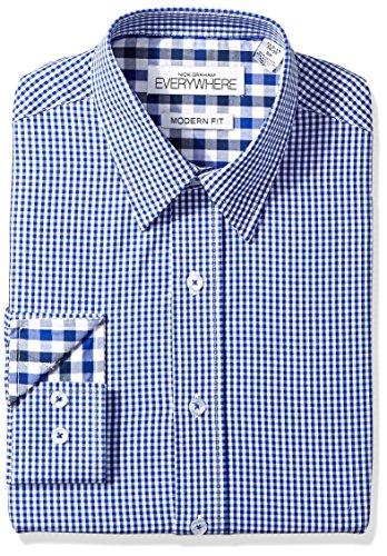 Mini Point Collar Dress Shirt (Nick Graham Everywhere Men's Mini Gingham Point Collar Dress Shirt, Blue (Mini Gingham), 15.5