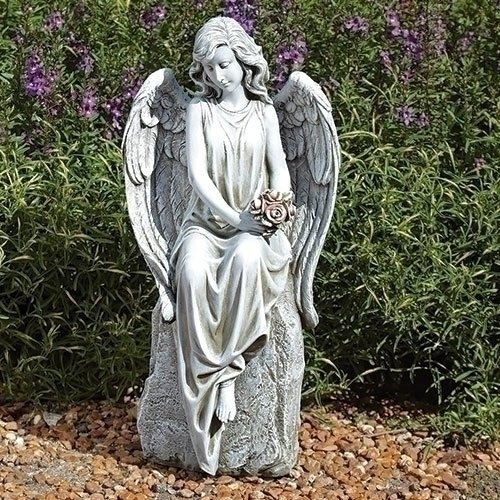 - Sitting Angel Flowers Concrete Look 8.5 x 18 Resin Stone Outdoor Garden Statue