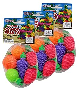 Au'some Fruit Shape Filled Kosher Sour Candy Powder 3 packs
