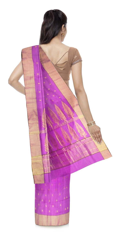 Purple Color Chanderi Cotton & Silk Saree With Blouse Piece