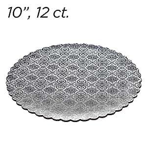 """10"""" Silver Scalloped Edge Cake Boards, 12 ct"""