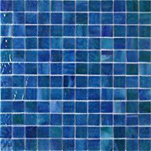 Blue Stained Glass - 1/2 sheet (72 tile) - Mossy Blue - Mesh Mounted