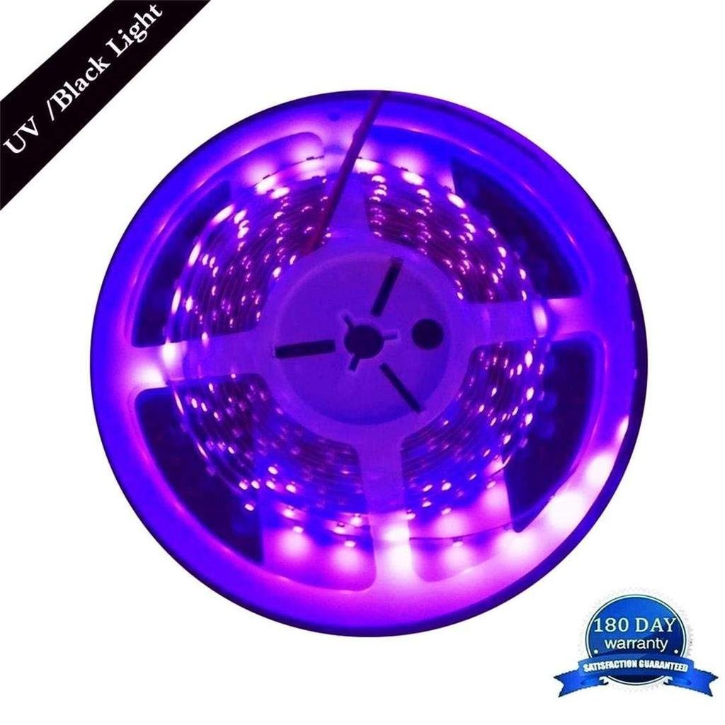 AMARS 5M/16.4ft 3528 SMD Blacklight UV/Ultraviolet 395nm-405nm LED Light Strip Fixtures DC 12V 60leds/m 300 LED Purple Light Bulb Lighting