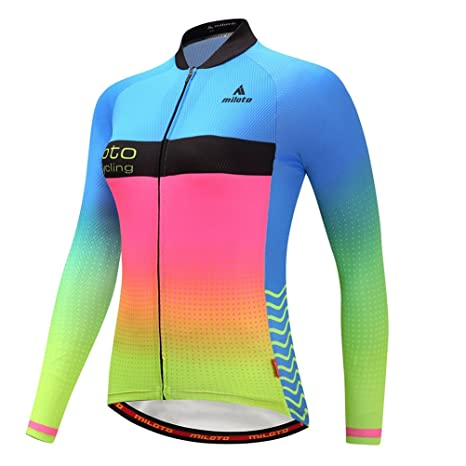 a8cacdf4b BIYINGEE Women s Cycling Jersey Long Sleeve with Reflective Stripe Dream  Blue Size ...