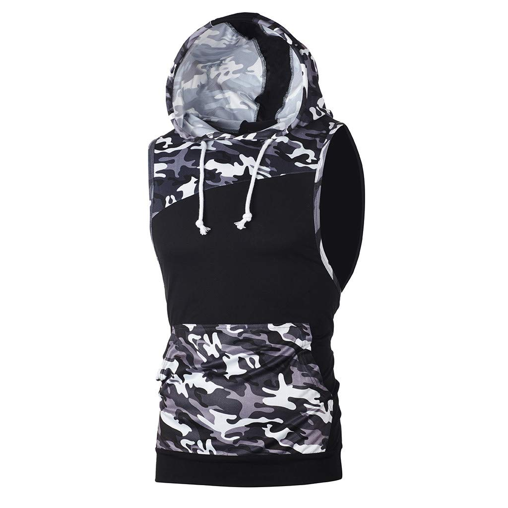 Corriee Fashion Tops for Men Summer Camouflage Patchwork Sleeveless T Shirt Tank Tops Hooded Blouse Mens Hoodies