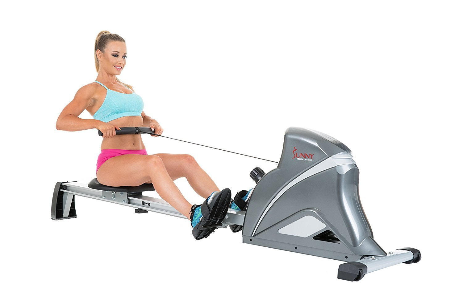 Sunny Health & Fitness SF-RW5508 Ultra Tension Magnetic Pro Rowing Machine Rower w/ LCD Monitor