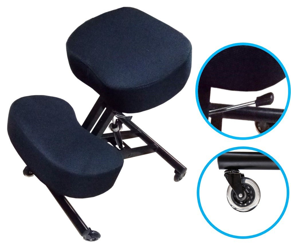 Sleekform Ergonomic Kneeling Chair - 4 inch Cushions with High Resilience Sponge - Roller Blade Casters - Pneumatic Gas Lift - Mesh Fabric Computer Kneeling Chair - Posture Chair and Knee Stool