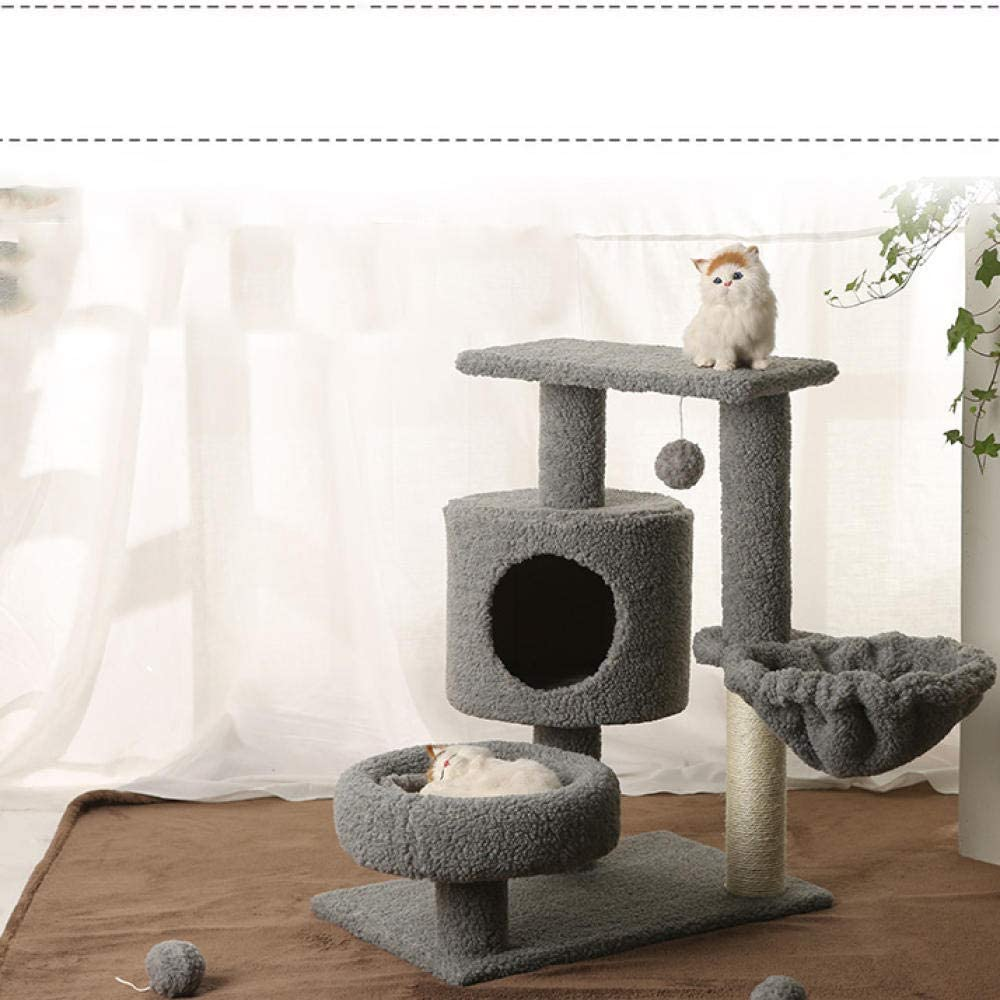 Para Gatos Con Árbol Para Gatos Gatos Rascador Con Tree Play Tower Bed Gimnasio Blanco Muebles Para Mascotas Scratch Post Pet Cat Tree Tower Climbing Kitty Muebles Abeto Scratching-gray_75cm